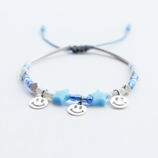 Smiley blue star adjustable string bracelet