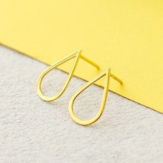 Drop Earrings in 925 Sterling Silver with 24k Yellow Gold