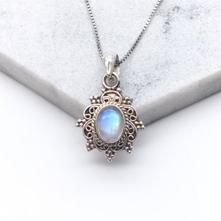 Moonstone 925 sterling silver bohemian necklace Nepal handmade inlay