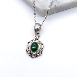 Green tourmaline lace style necklace sterling silver Nepal handmade mosaic production