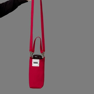Universal environmentally friendly beverage bag detachable long strap with oblique shoulder portable red
