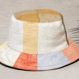Tanabata gift limited to a land forest wind splicing hand weaving cotton hat / fisherman hat / sun hat / patch cap / handmade cap - fresh orange Makarong stitching hand hats
