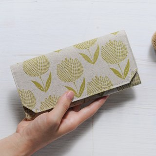 Japanese cotton linen washed kraft paper long clip - yellow green hydrangea - wallet / wallet