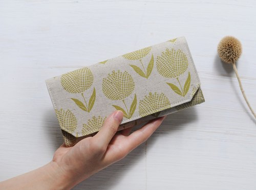 Japanese cotton linen washed kraft paper clip - Yellow green hydrangea - Wallet/wallet