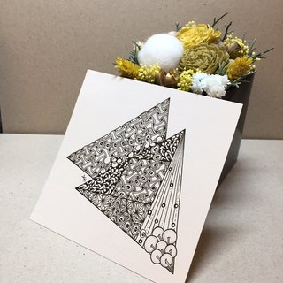 Square Coloring Card in Tangles Art/ Duo Triangles