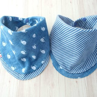 Baby Bib, Reversible Scarf Bib, Handkerchief, Whale, Nautical Japanese Cotton