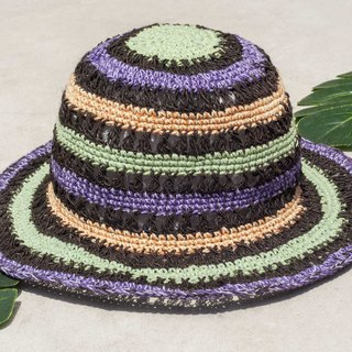Chinese Valentine's Day gift limited to a national wind stitching hand-woven cotton hat / fisherman hat / sun visor / patch cap / handmade hat / hand crocheted hat / hand-knit / gentleman hat-grape mint macarons striped hollow