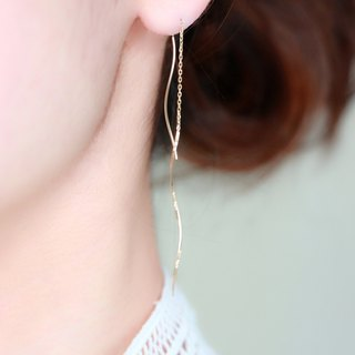 K10 yellow gold- solid gold nuance wave pierced earrings