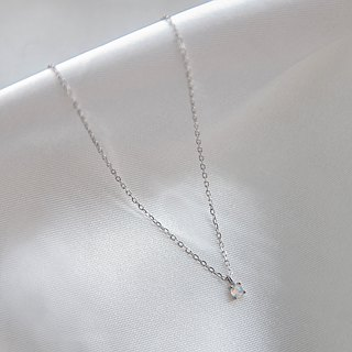 Opal Round Stone Necklace (October Birthstone)