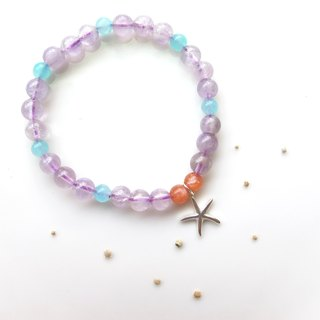 [Starfish Party] sea water sapphire x sun stone x amethyst x925 silver - hand-created natural stone series