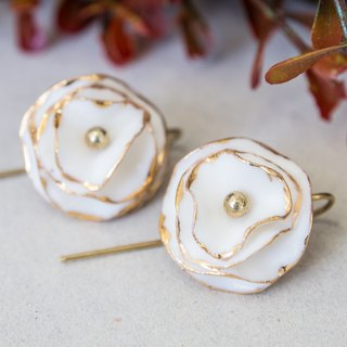 Golden Bloom ~ gold & white porcelain flower hook earring.