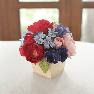 Flowers Wooden Pot for Working Table made from Mulberry Paper
