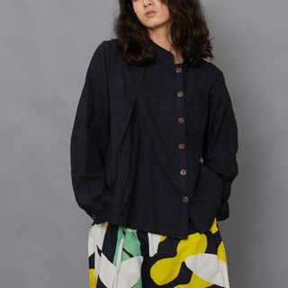 Bamboo Forest Long Sleeve Shirt_Peony Blue Jacquard_Fair Trade