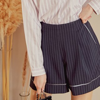 MIT textured slim striped shorts (R6031C)
