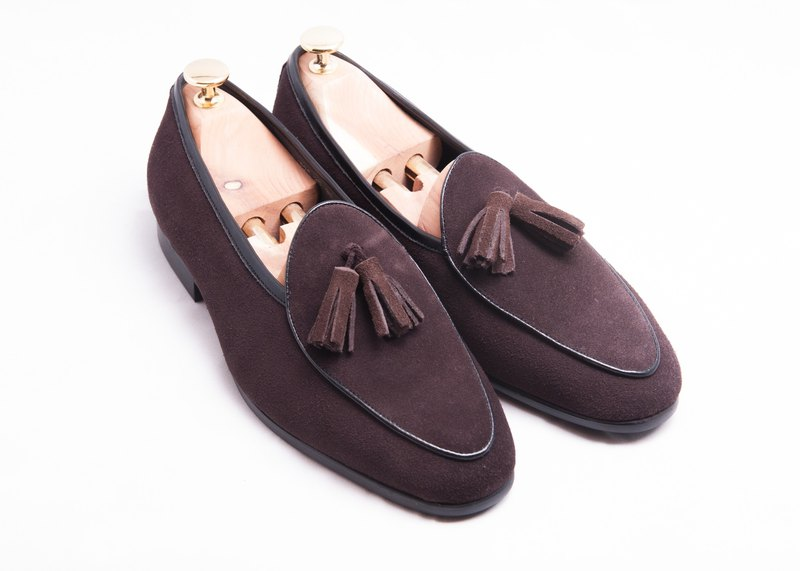 Leather suede tassels Belgium Lok Fu shoes men's shoes leather shoes - brown - free shipping - E1B26-89