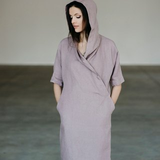Linen Dress Motumo With Hood 15S4