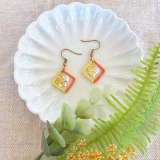 Handmade embroidery // Floating window hook earrings - small yellow flower / / can be clipped