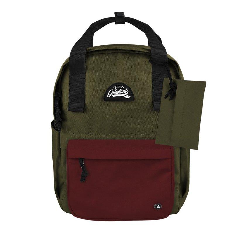 Grinstant混搭可拆組式13吋後背包 - 冒險系列 (軍綠色配深紅)