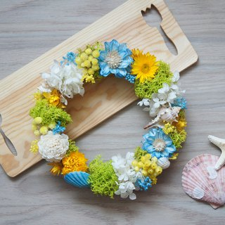 Handmade dried flowers / not wither series ~ summer waltz marine wind wreath / photo props / ocean wind wedding / beach party layout / cafe layout ~