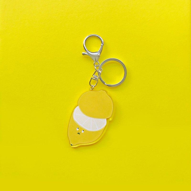白眼翻翻黃檸檬壓克力鑰匙圈/吊飾