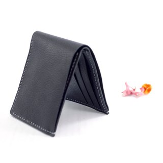 Be Two | handmade short clip (black lychees) / leather wallet / large capacity / double deck card / leather / men's short clip