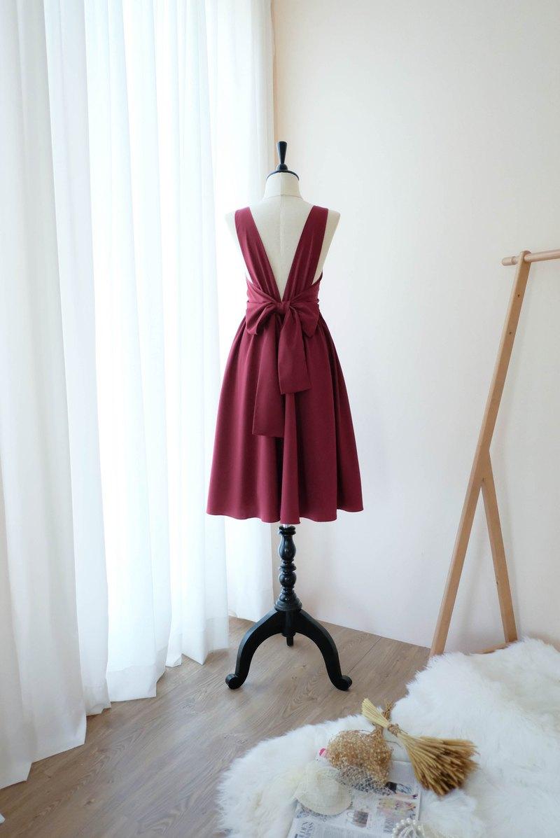 勃艮第紅色禮服舞會禮服伴娘禮服雞尾酒露背中長