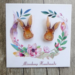 Misssheep-U55 Hand-painted Style Rabbit Handmade Earrings (ear pin/ear clip)