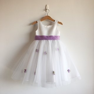 White Satin Ball Gown Dress with Purple Flowers