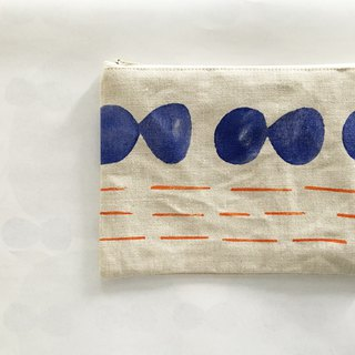 moshimoshi | linen zipper cosmetic bag - blue cell division