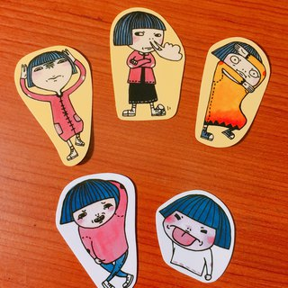 Girl.Angry articles. Waterproof transparent stickers
