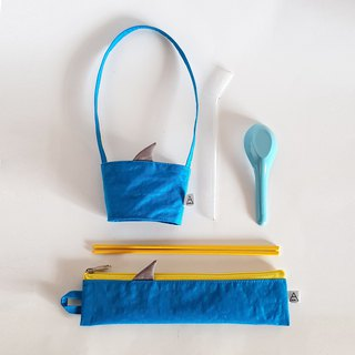 New iron ash shark fin / shark comes with environmentally friendly cutlery bag + beverage bag / exclusive group / blue sea shark