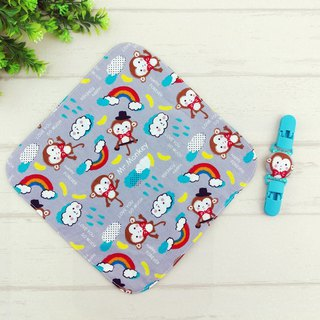 Mr. Monkey. Double-sided cotton handkerchief + handkerchief clip (can increase the price of 40 embroidery name)
