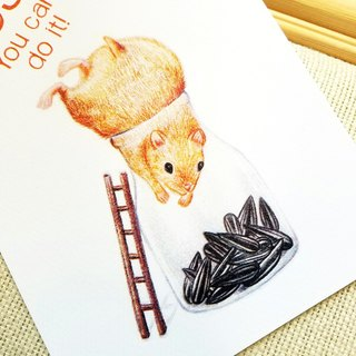 Postcard - mice catch sunflower seeds