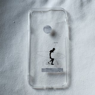 SURFER black line transparent phone case is covered with soft shell