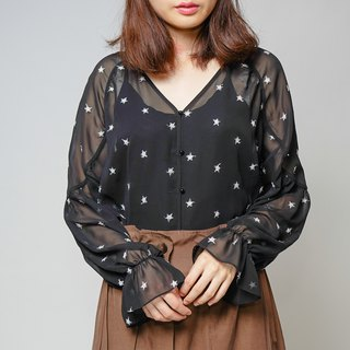 MIT Tulle Skin Star Blouse - Black (R6039A)