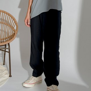 Hao Navy Linen Wide Pants Dark Blue Linen Pants