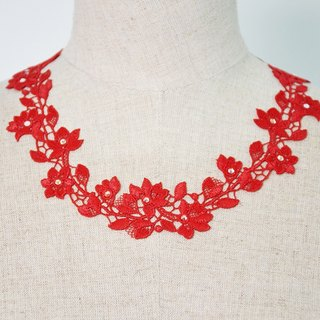 PINKOI limited blessing bag - red flower 漾 necklace & earrings two-piece group