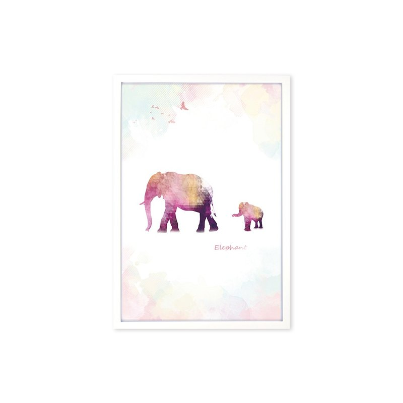 HomePlus Decorative Frame BEST COMPANION-ELEPHANT White frame 63x43cm Homedecor