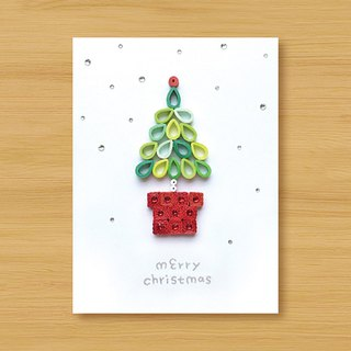 Handmade Roll Paper Christmas Card _ Christmas Wishes Small Potted Merry Christmas_F