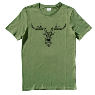 Deer Geometric Unisex Short Sleeve T-Shirt Army Green Geometry Dee Cosmic Design Own Brand Milky Way Trendy Rounded Triangle