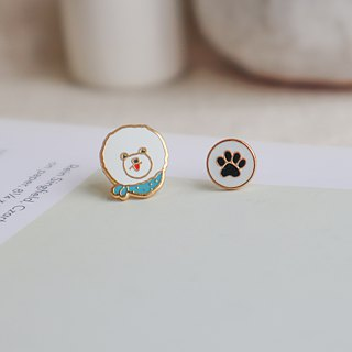 Bichon needle earrings