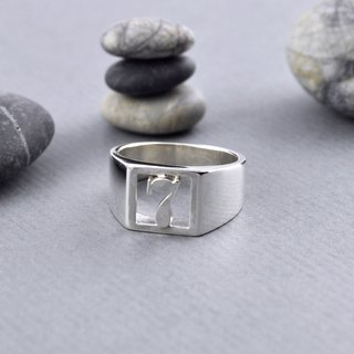 Sterling Silver Lucky Number Signet Ring