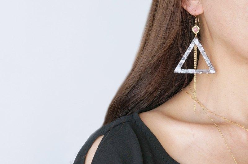 【大理石】14KGF耳環,寶石三角-007-
