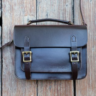 Cambridge Satchel Leather Shoulder Bag / Brown Messenger Crossbody Bag