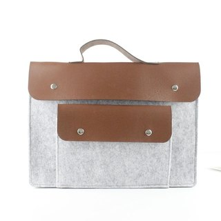 Custom-made light gray felt computer protective cover pen electric bag computer bag Macbook 13吋074
