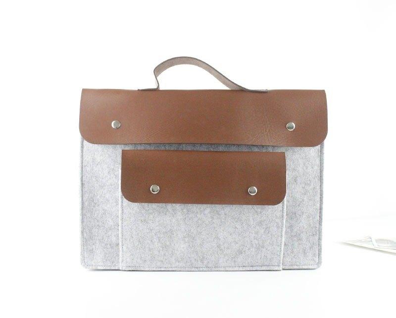 可客製 淺灰色毛氈 電腦保護套 筆電包 電腦包 Macbook 13吋 074