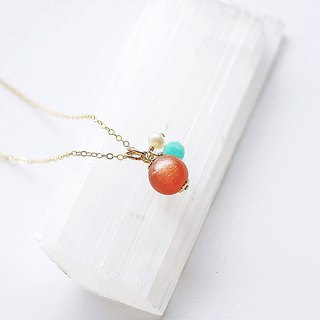 Orange Moonlight Stone 3 WAY 14K GF Necklace Topaz Gift