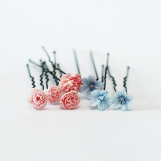 Pamycarie spring and summer handmade resin clay powder blue flowers hairpin Fa