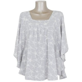 Starfish pattern! ! Starfish print Square Neck Tops <gray>