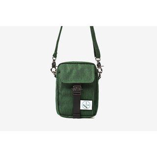 Simple texture small diagonal bag:: Forest Green::